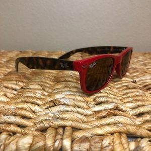 Authentic Red + Tortoise Shell Ray-Ban Sunglasses